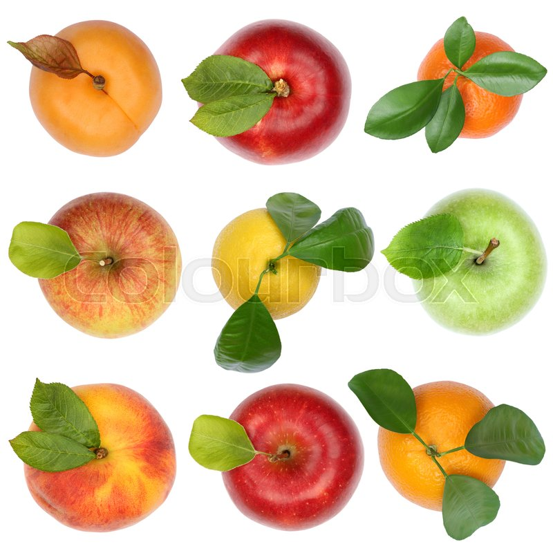 Stock image of 'Fruits top view from above apple orange isolated on a white background'