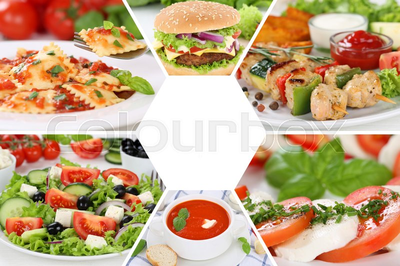 Stock image of 'Food restaurant menu collection collage meal meals set'