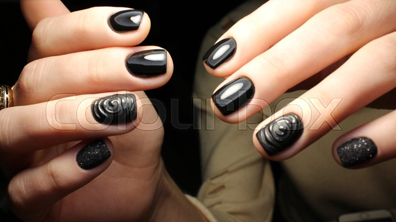 Stock image of 'Youth, beautiful manicure design gel varnish 2017'