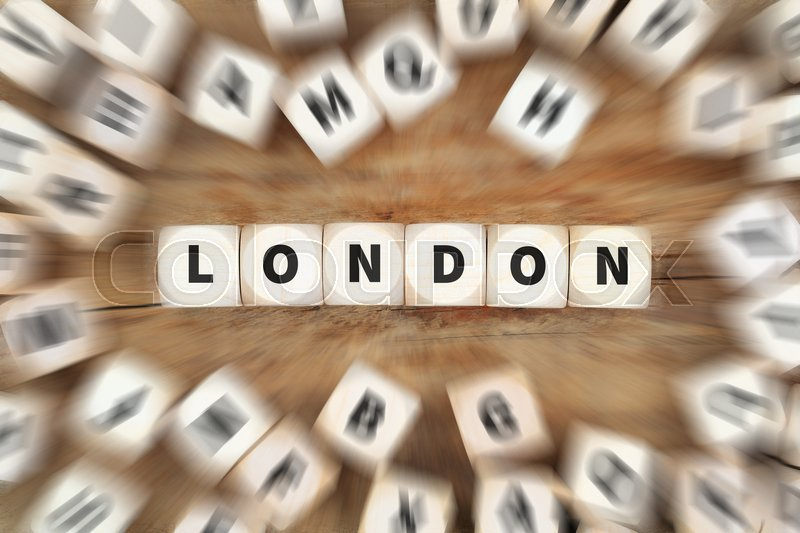 Stock image of 'London England Great Britain UK city dice business concept idea'