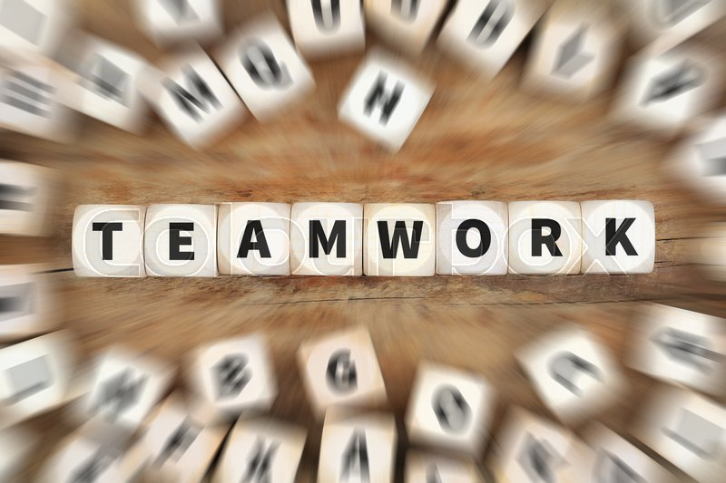 Stock image of 'Teamwork team success successful together dice business concept idea'