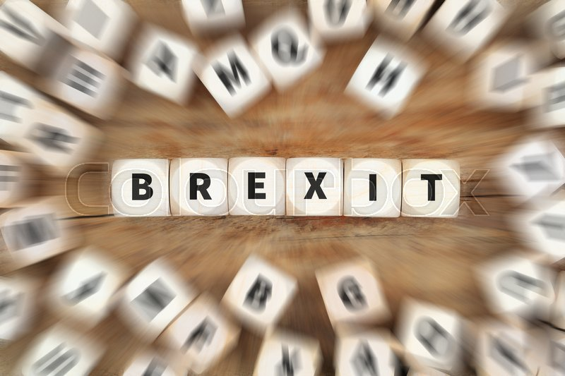 Stock image of 'Brexit exit England leaving EU dice business concept idea'