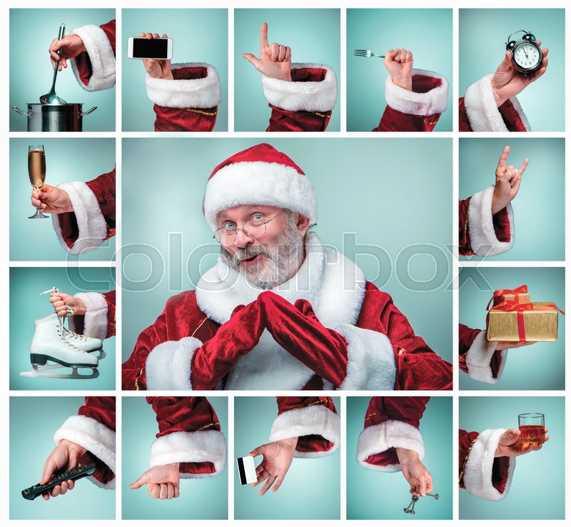 Stock image of 'The collage from hands in costume Santa Claus is holding the different tools'