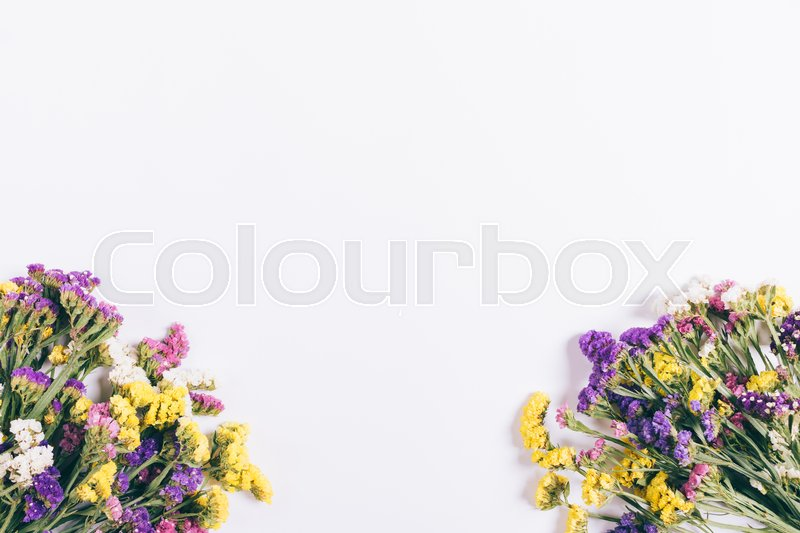 Stock image of 'Colorful bouquets of flowers lie on a white background, top view'