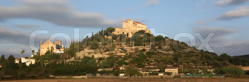 Stock image of 'Arta Majorca Mallorca Balearic Islands church evening panorama panoramic Spain travel'