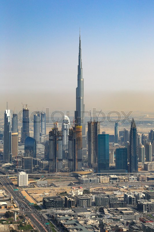 Stock image of 'Dubai Burj Khalifa building Downtown vertical aerial view photography UAE'