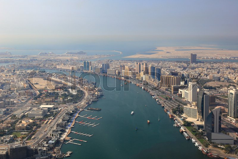 Stock image of 'Dubai The Creek delta aerial view photography UAE'