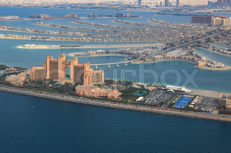 Stock image of 'Dubai Atlantis Hotel The Palm Jumeirah Island aerial view photography UAE'