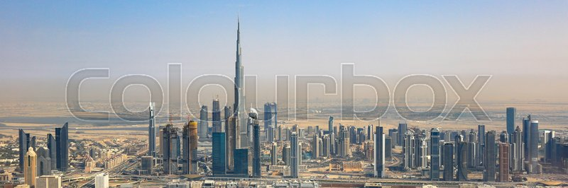 Stock image of 'Dubai skyline Burj Khalifa skyscraper panorama panoramic aerial view photography UAE'