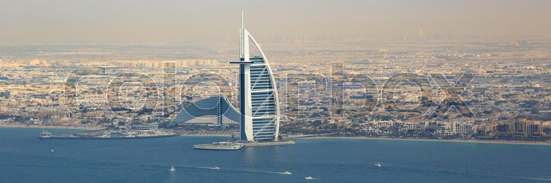 Editorial image of 'Dubai Burj Al Arab Hotel boats panorama panoramic aerial view photography UAE'