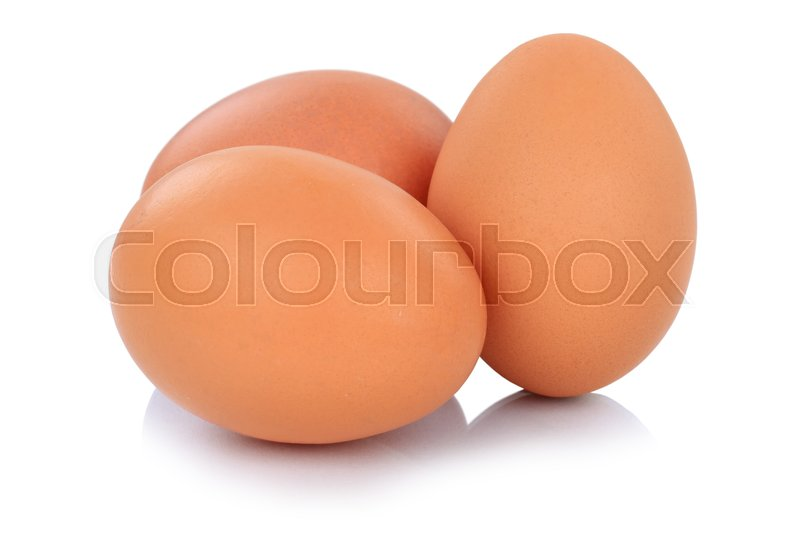 Stock image of 'Brown eggs isolated on a white background fresh food'