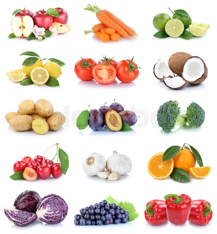 Stock image of 'Fruits and vegetables collection apples oranges tomatoes grapes vegetable food isolated on a white background'