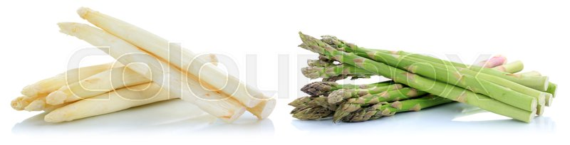 Stock image of 'White and green asparagus fresh vegetable isolated on a white background'
