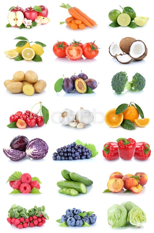 Stock image of 'Fruits and vegetables collection apples oranges tomatoes berries lettuce vegetable food isolated on a white background'