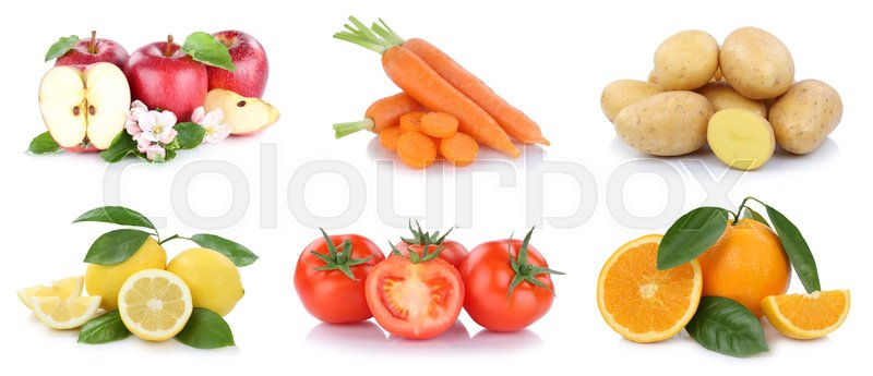 Stock image of 'Fruits and vegetables collection apples oranges vegetable food isolated on a white background'