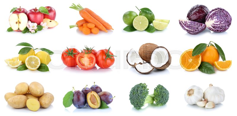 Stock image of 'Fruits and vegetables collection apples oranges coconut vegetable food isolated on a white background'