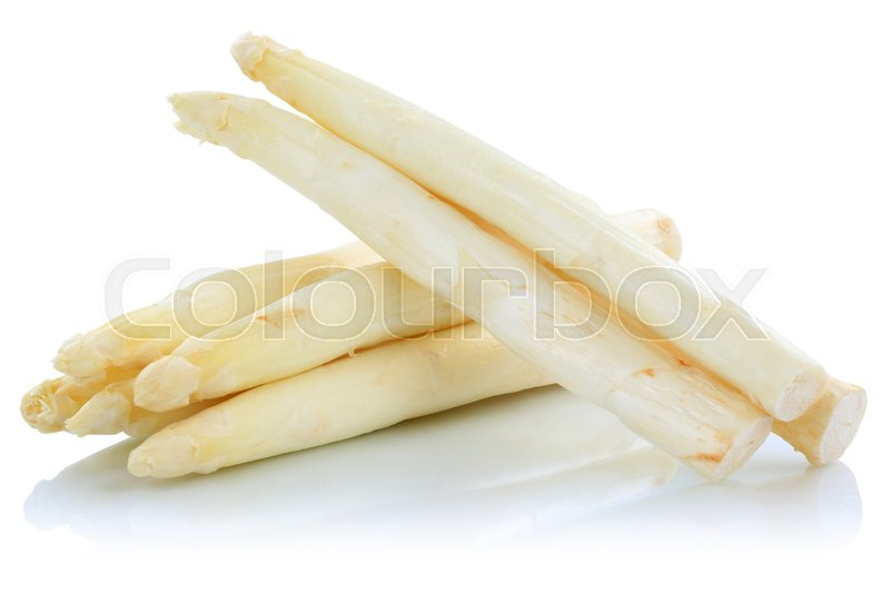 Stock image of 'White asparagus fresh vegetable isolated on a white background'