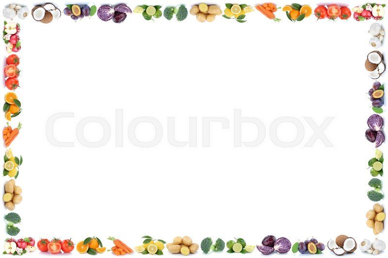 Stock image of 'Fruits and vegetables apples oranges vegetable food frame copyspace copy space on a white background'