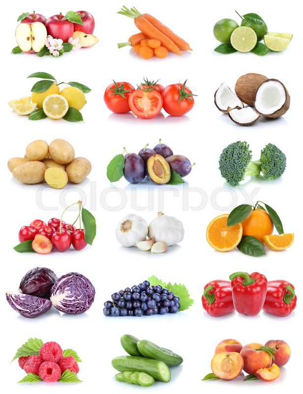Stock image of 'Fruits and vegetables collection apples oranges tomatoes berries grapes vegetable food isolated on a white background'