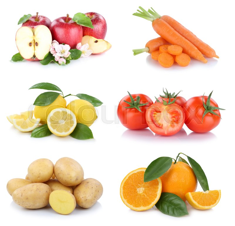 Stock image of 'Fruits and vegetables collection apples oranges tomatoes vegetable food isolated on a white background'