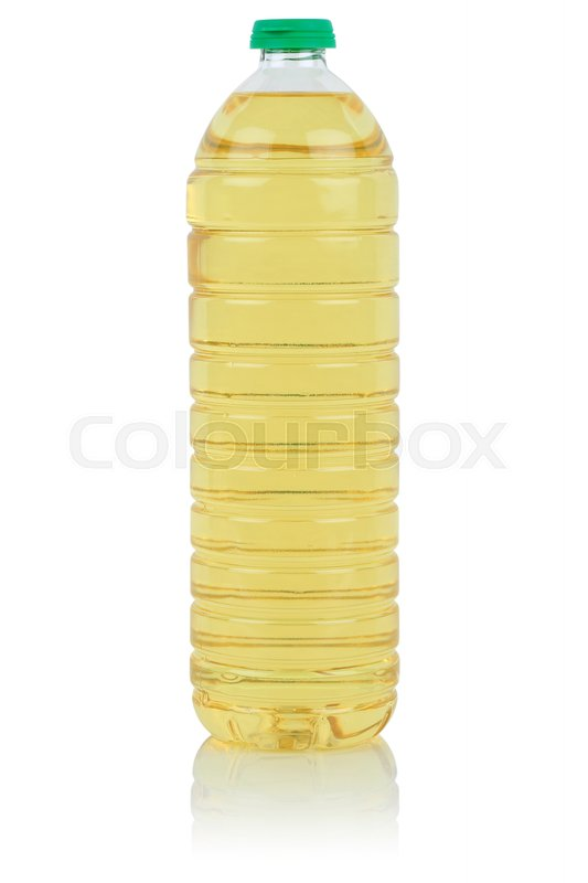 Stock image of 'Rapeseed vegetable oil bottle fresh rape isolated on a white background'