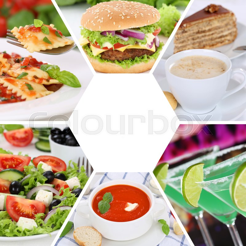 Stock image of 'Food and drink collection collage eating drinks meal meals restaurant menu set'