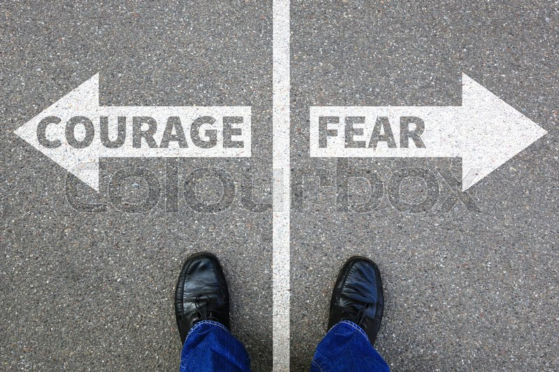 Stock image of 'Courage and fear risk safety future strength strong business concept danger dangerous'