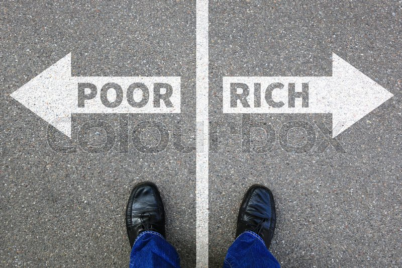 Stock image of 'Poor rich poverty finances financial success successful company business concept finance'