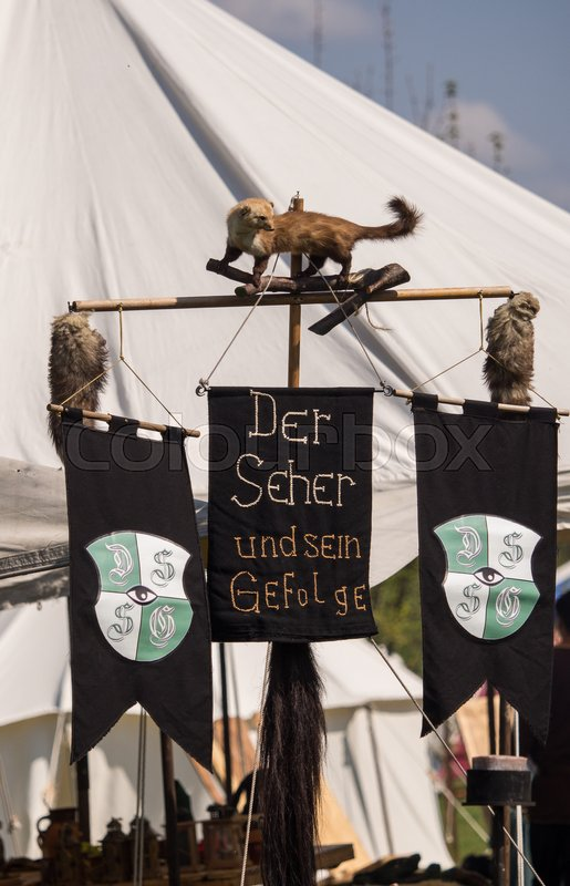 Editorial image of 'People, salesstands and general impressions of the medieval age festival on Lake Murner in Wackersdorf, Bavaria on 10 May 2016'
