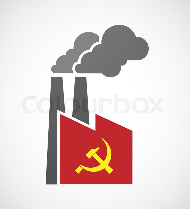 Illustration Of An Isolated Factory With The Communist Symbol