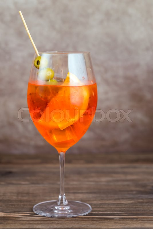 Stock image of 'Glass of Aperol Spritz cocktail'
