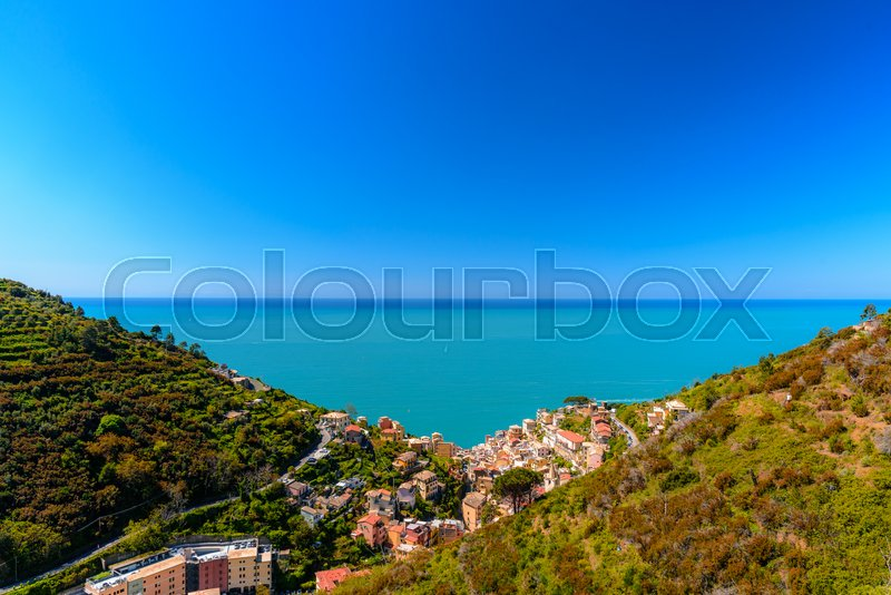 Stock image of 'Aerial view of Riomaggiore in Liguria a famous town of the Cinque Terre National Park.'
