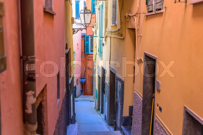 Stock image of 'RIOMAGGIORE, ITALY - APRIL 29, 2017 - View of a street of the beautiful town Riomaggiore in Liguria, inside the famous Cinque Terre National Park.'