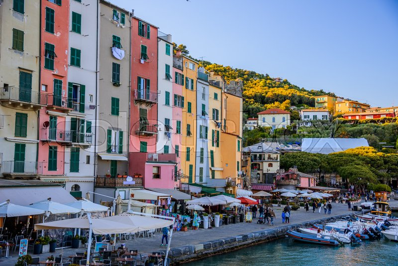 Stock image of 'PORTO VENERE, ITALY - APRIL 29, 2017 - View of the colorful house of the famous town of Porto Venere in Liguria, near the Cinque Terre National Park.'