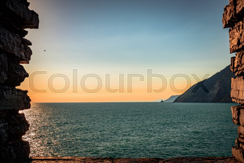 Stock image of 'View of the Mediterrean sea from the fortress in Porto Venere'