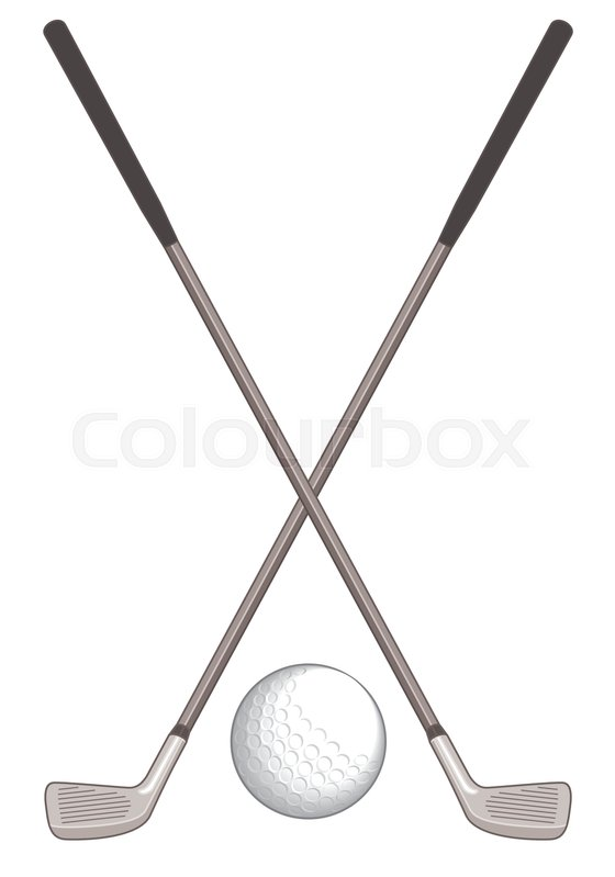 Two golf clubs crossed with golf ball on white background | Stock ...