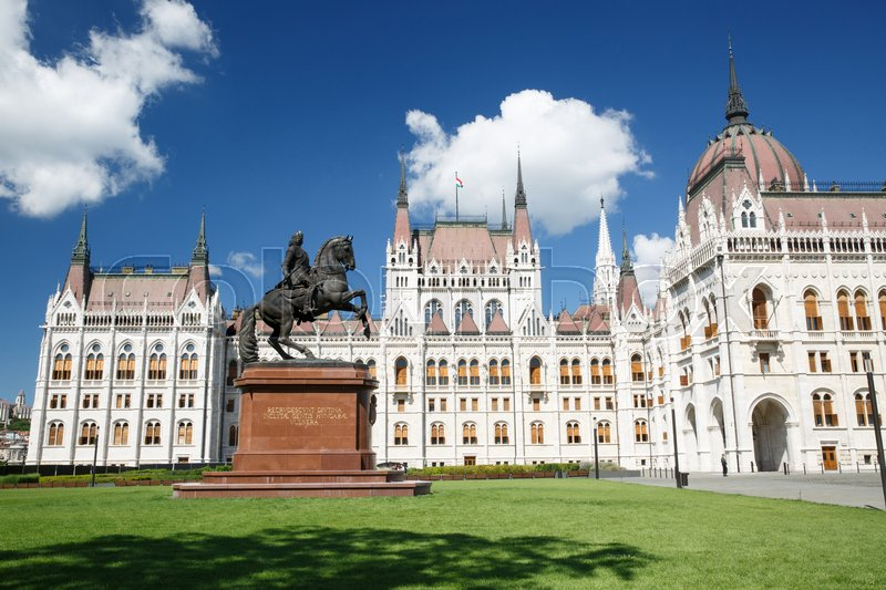 Editorial image of 'Beautiful Parliament building and equestrian statue of Francis II Rakoczi in Budapest. Hungary '