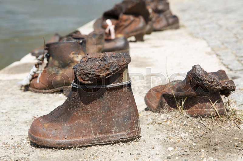 Stock image of 'Memorial Shoes on the Danube. Children's shoes close-up. Budapest, Hungary '