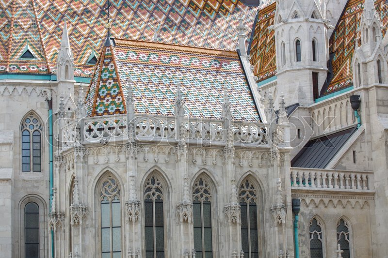Editorial image of 'Roof detail of St Matthias catholic church in Budapest, Hungary '