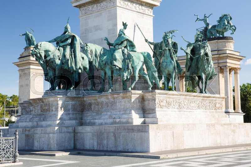 Stock image of 'Heroes' Square is one of the most-visited attractions in Budapest. The fragment of the Millennium monument '