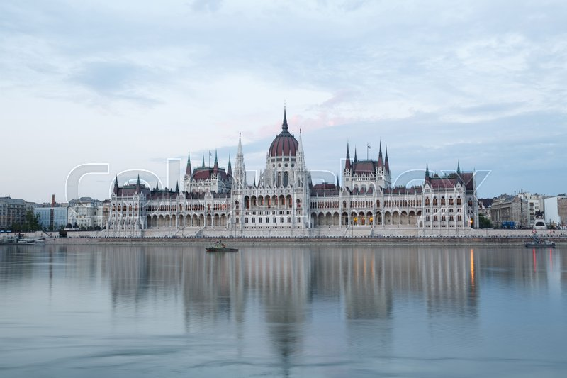Editorial image of 'View of Budapest parliament in the evening, Hungary '