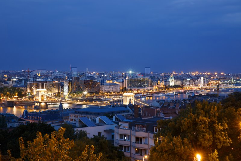 Stock image of 'Night view of the city side of Pest. Budapest. Hungary '