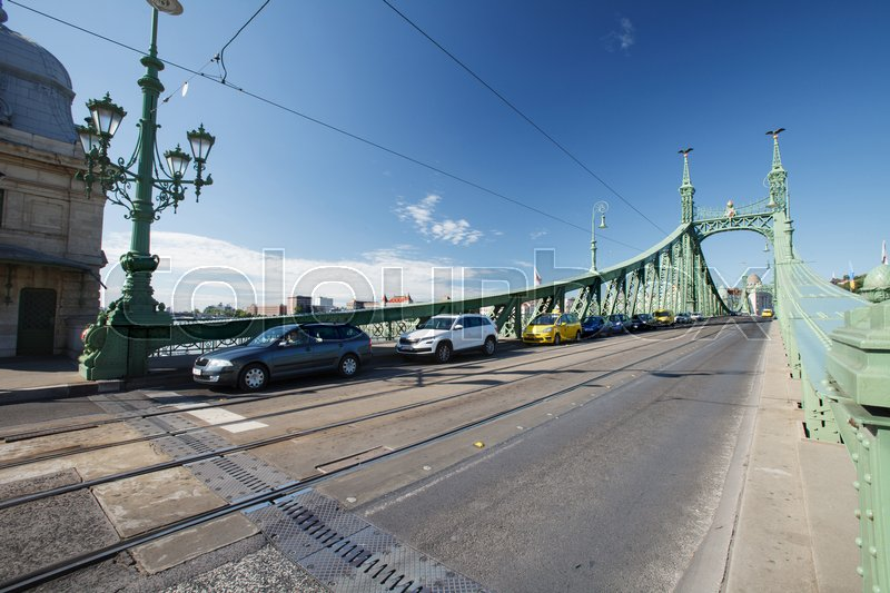 Stock image of 'Cars on the Liberty Bridge or Freedom Bridge in Budapest. Hungary '