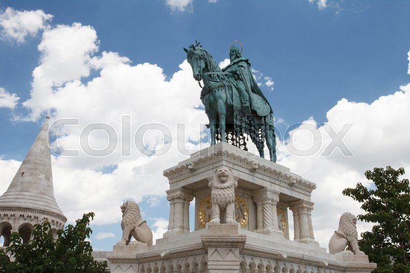 Editorial image of 'Horse riding statue of Stephen I of Hungary, Fishermen's Bastion, Budapest, Hungary '