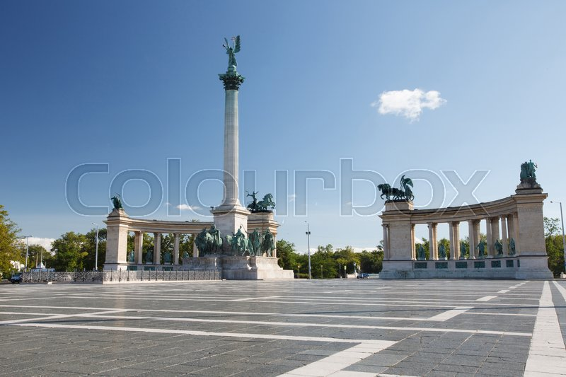 Editorial image of 'Heroes' Square, Hosok Tere or Millennium Monument, major attraction of city, with 36 m high Corinthian column in center. Budapest. Hungary '