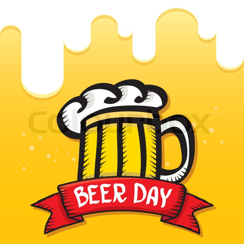 International Beer Day Vector Background Orange Layout Happy Graphic Poster