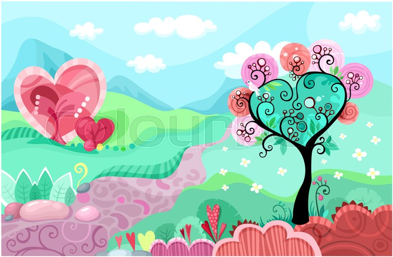 Stock image of 'tree, postcard, valentines'