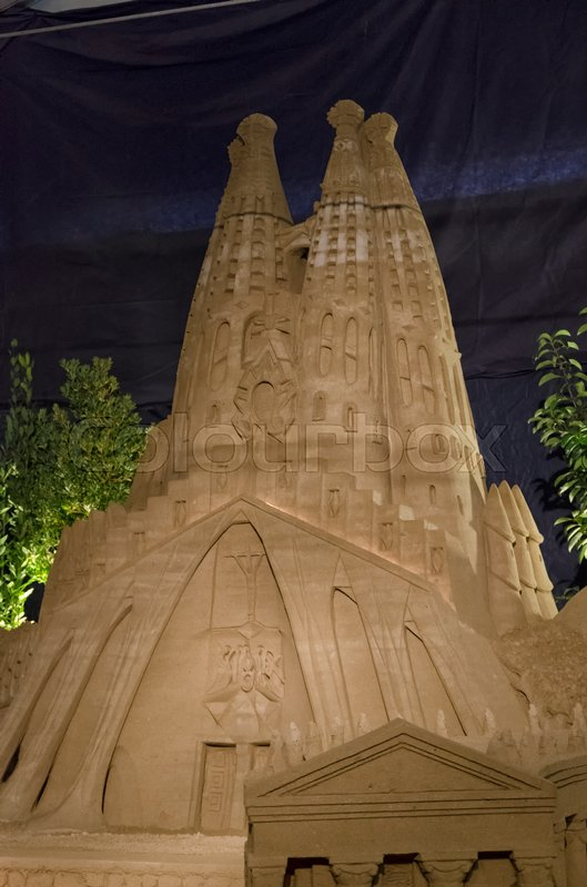 Editorial image of 'View of the Basilica of Sagrada Familia made with sand'