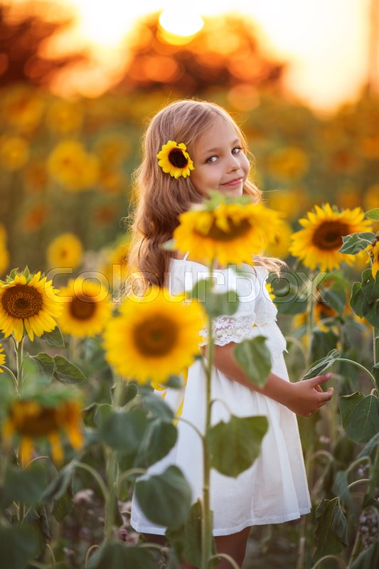 Stock image of 'Pretty child girl is wearing white dress in yellow garden of sunflowers over sunset lights'