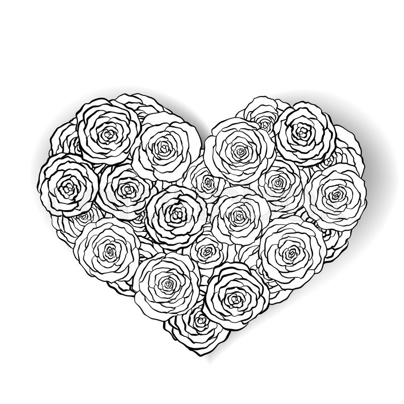 Stock image of ' line rose heart shape illustration. Great for wedding invitations, greeting, birthday and valentines cards. Hand drawn line rose.'